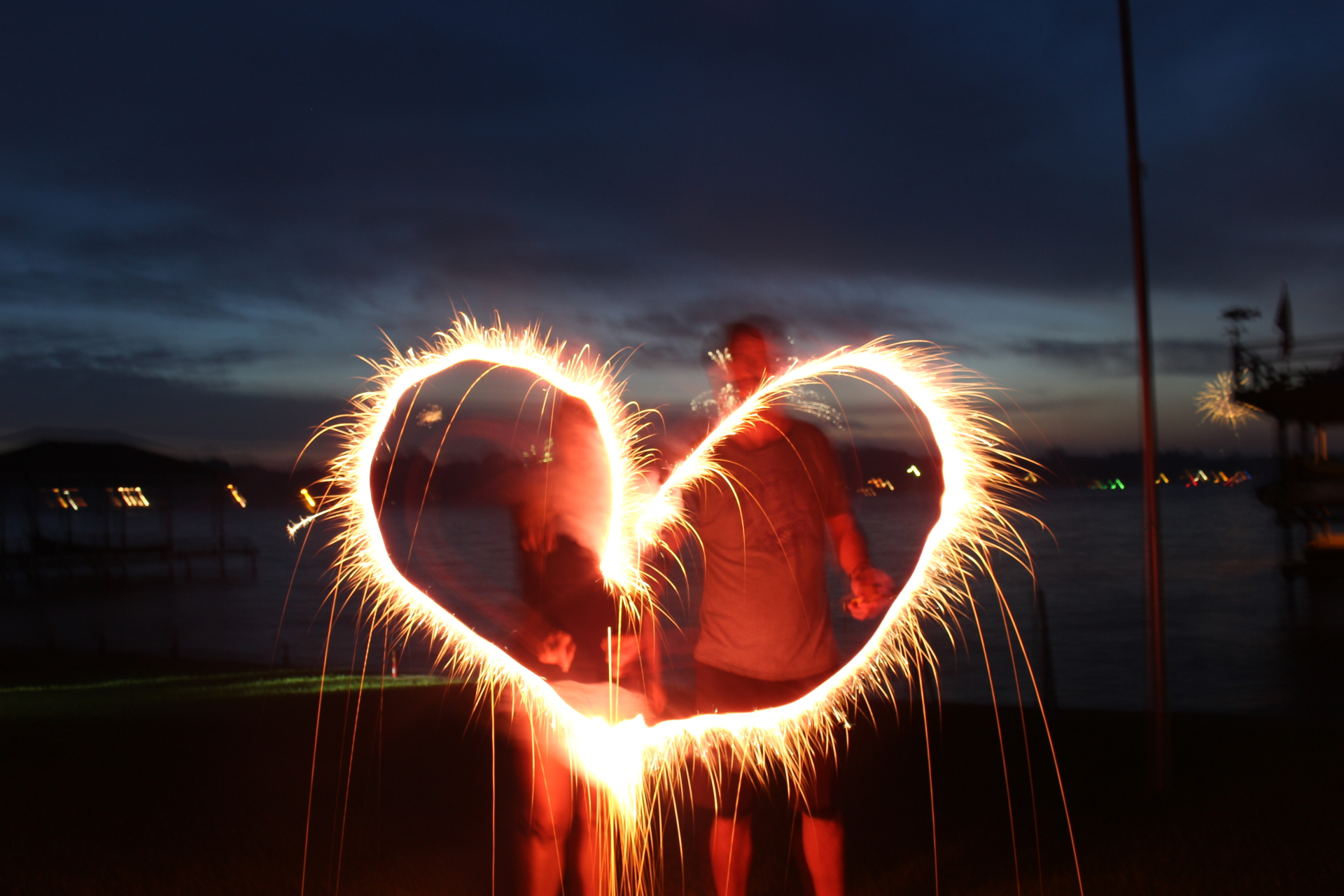 fireworks, sparklers, heart, action, adventure